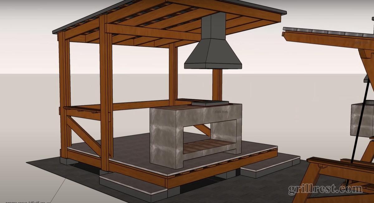 несгораемый стол из керамогранита и вытяжка для мангала