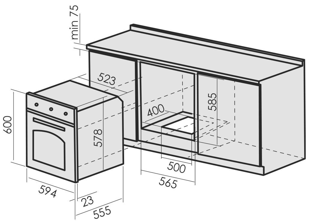 Размещение духовки классического размера 600х600