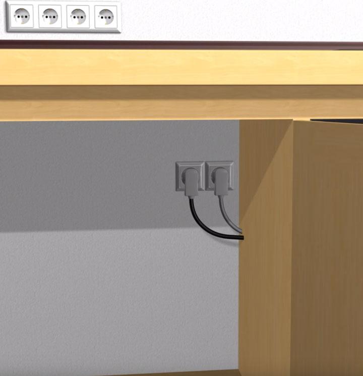 Рекомендуемое место монтажа розетки (имеется свободный доступ к отключению духовки)