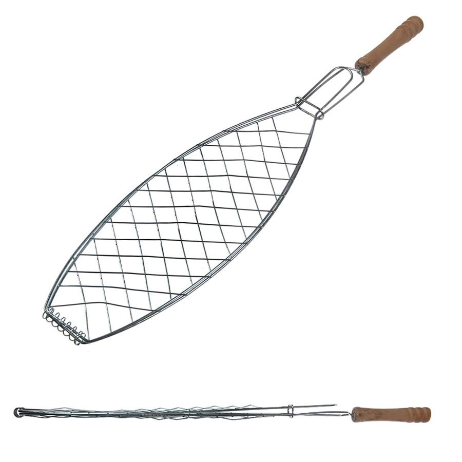 Решетка гриль для рыбы с деревянной ручкой FORSTER 52*32*12 см
