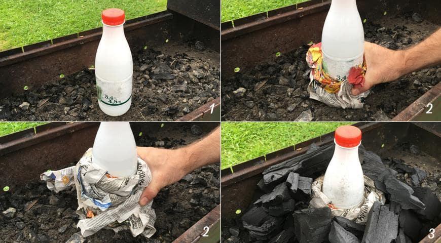 Оборачивание газетой бутылку и выкладывание углей