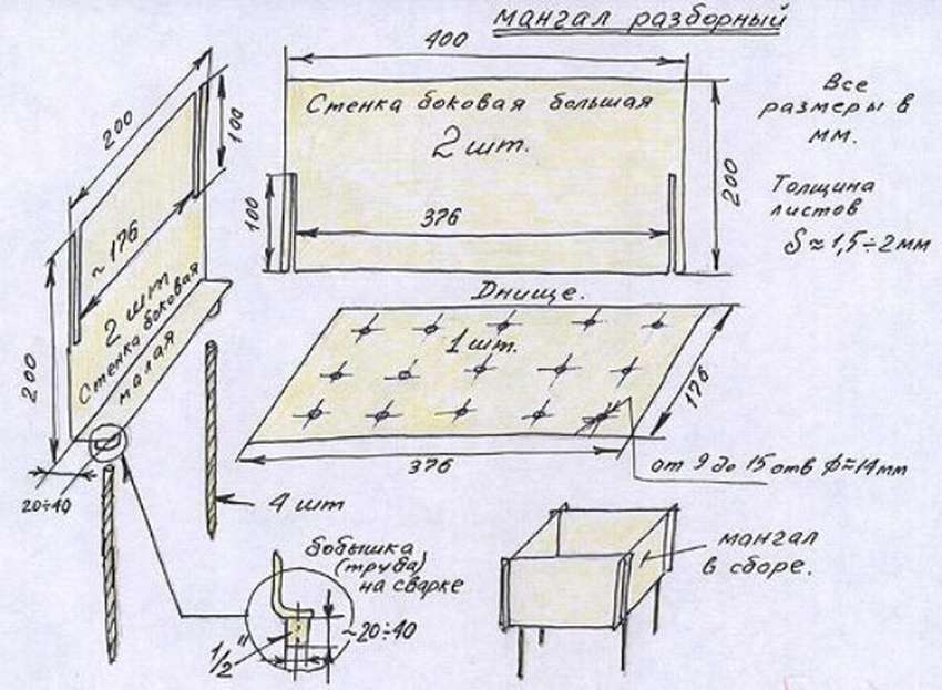 Схема сборного мангала