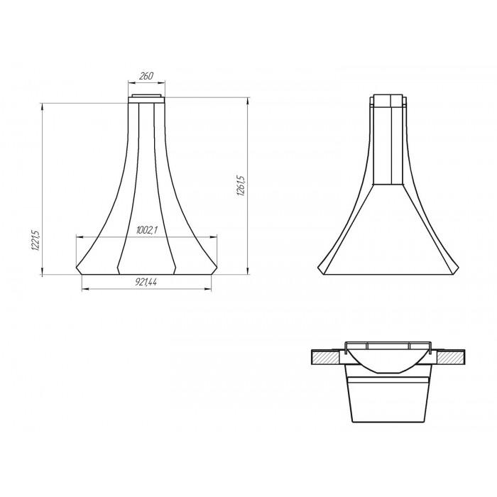 Большой двустенный вытяжной купол для зон барбекю Loft-13