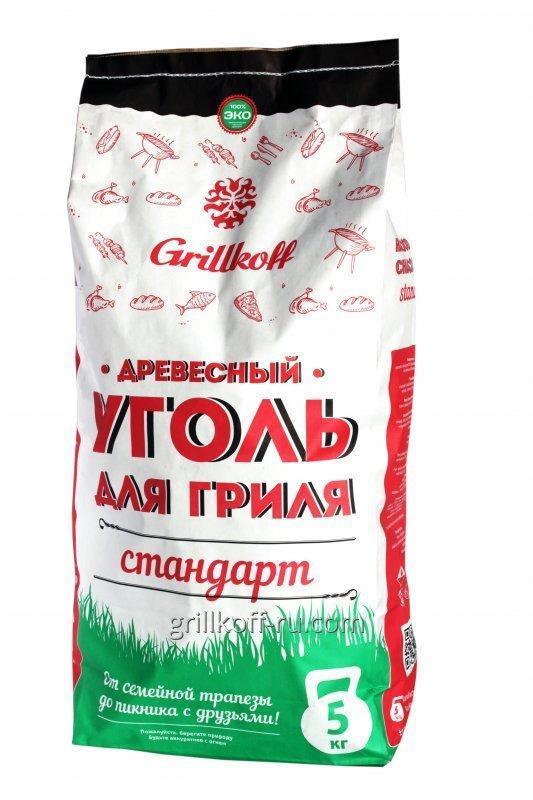 Grillkoff Уголь березовый для гриля «Стандарт», 5 кг