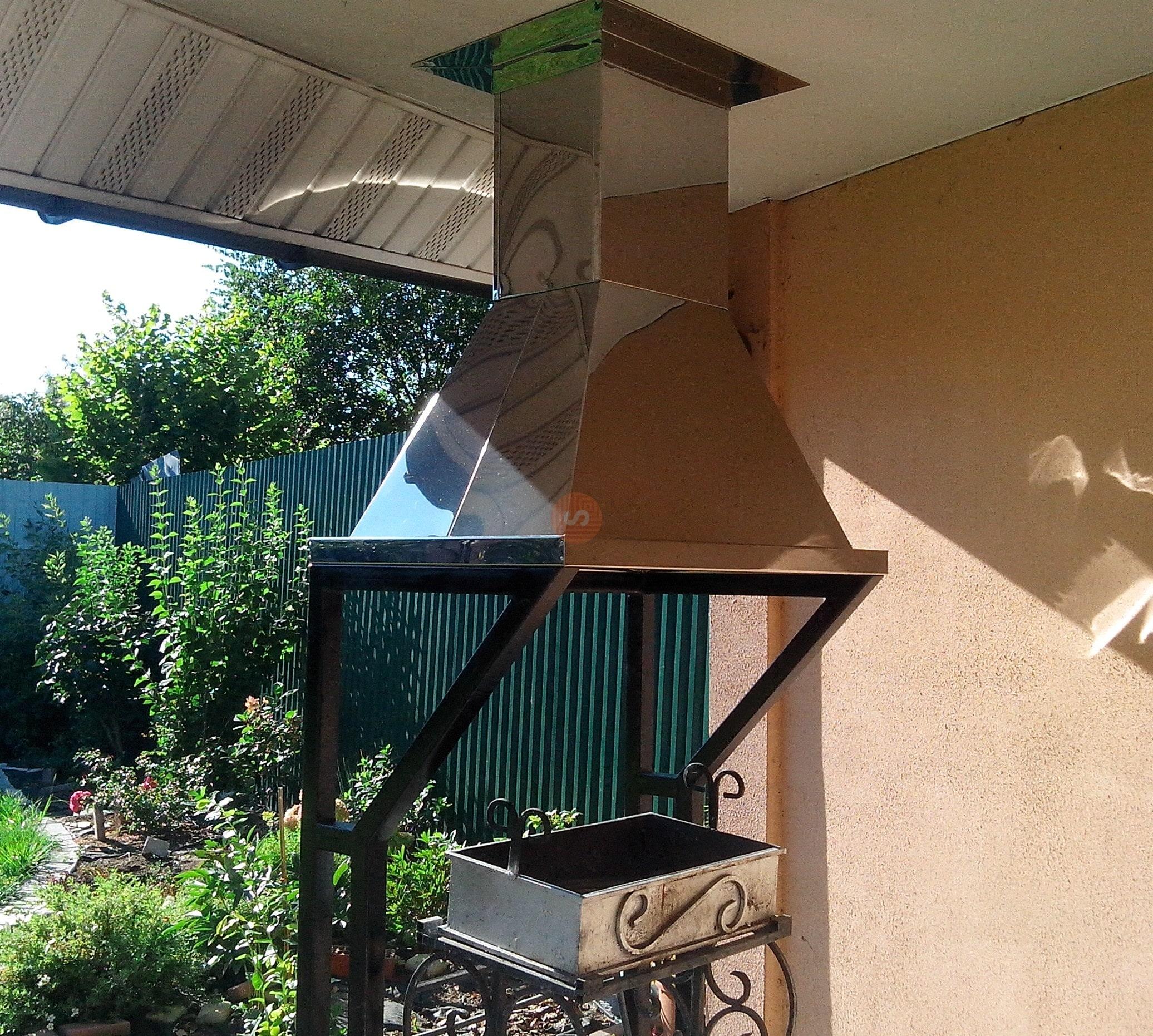 Мангал с вытяжкой под крышей здания