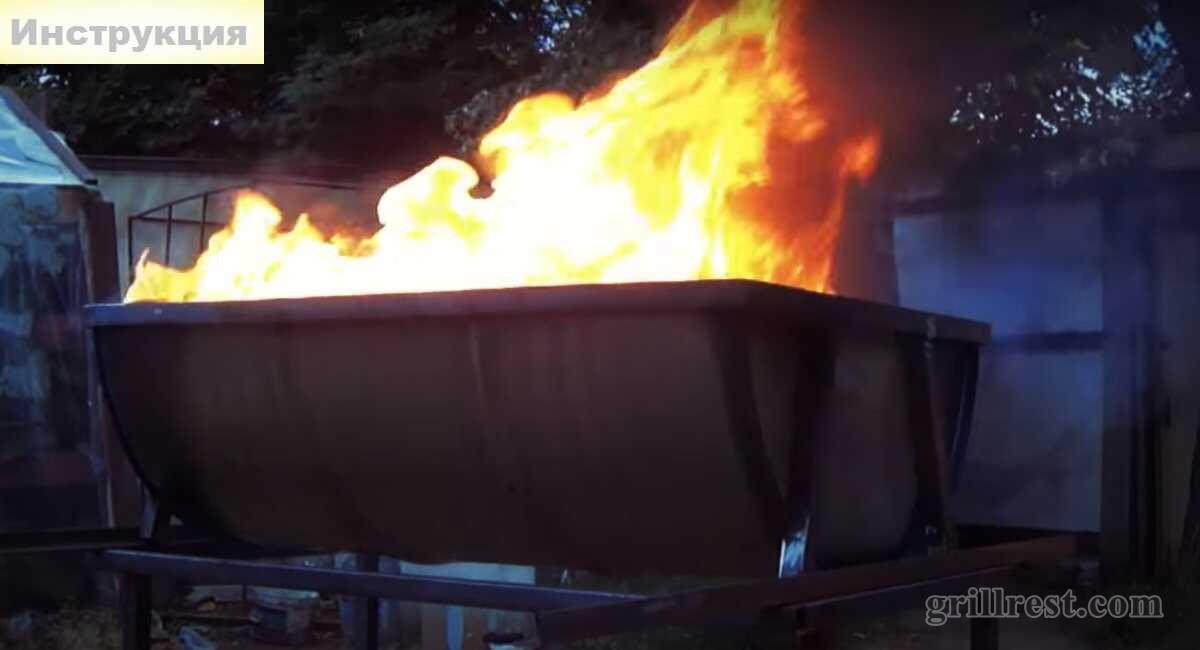 Процесс обжига мангала