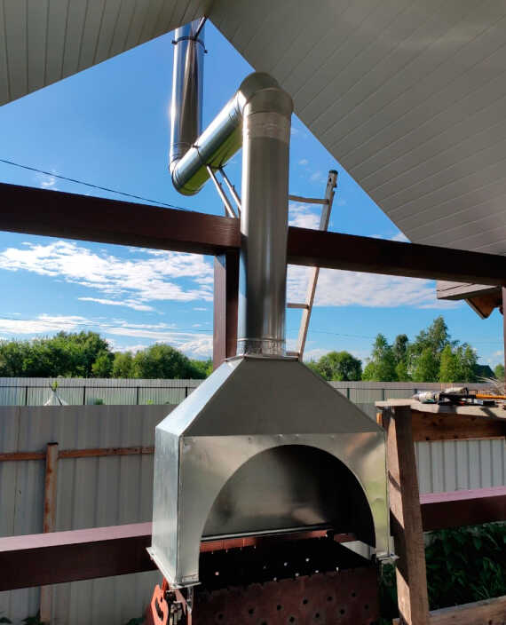Зонт вытяжной для мангала пристенный из оцинкованной стали на шинорейке