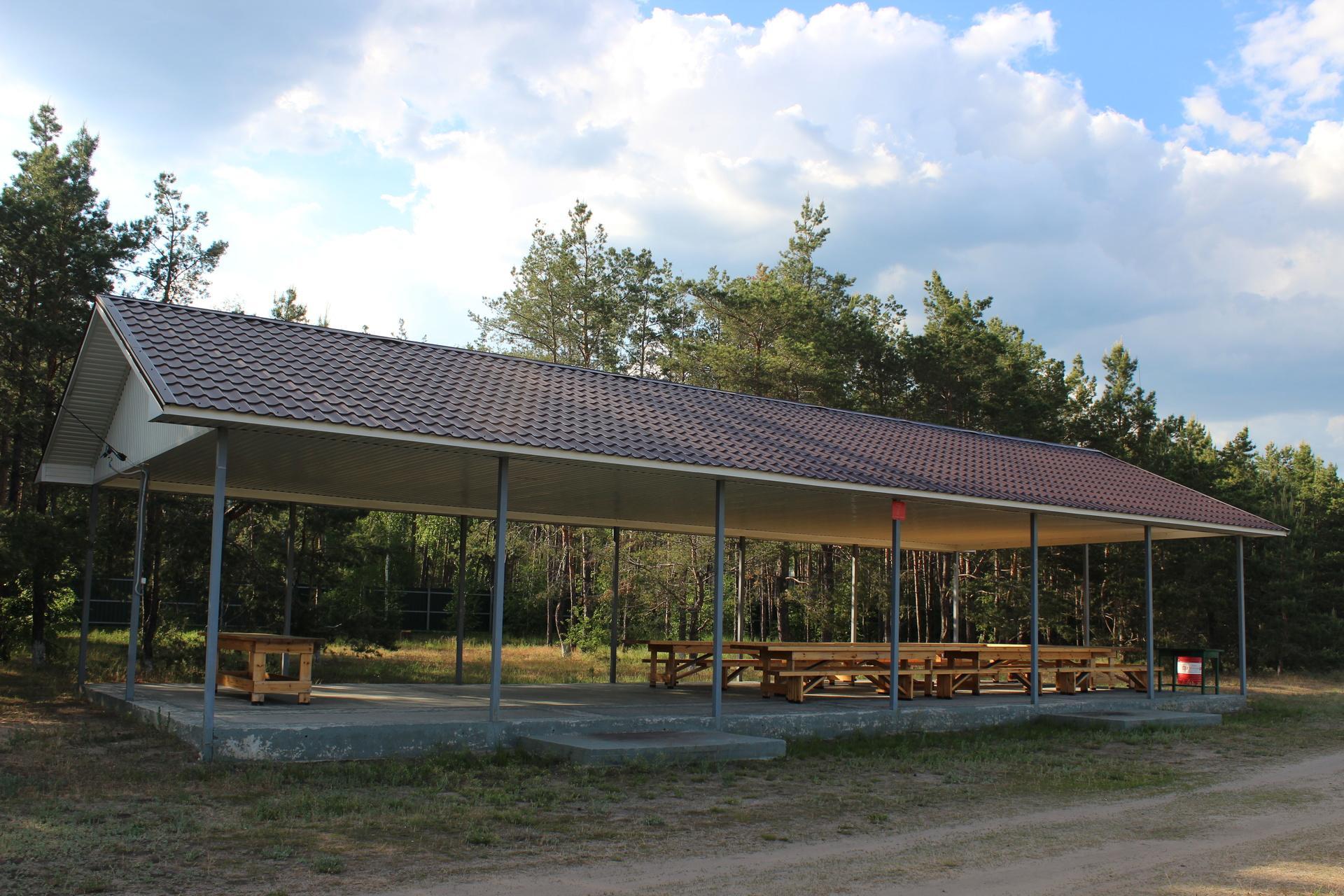 До 50 человек — большая крытая площадка с длинными столами и мангальной зоной