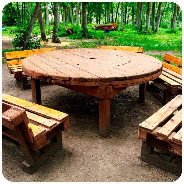 Пикник парк на территории леса — небольшие пикниковые места со столами и стульями для небольших компаний, на территории есть рукомойник, санузел и парковка